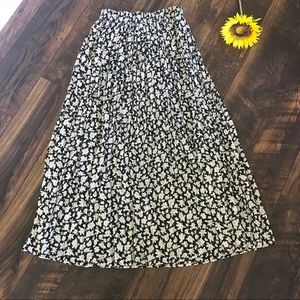 Vintage Trendy Floral Long Pleated Maxi Skirt
